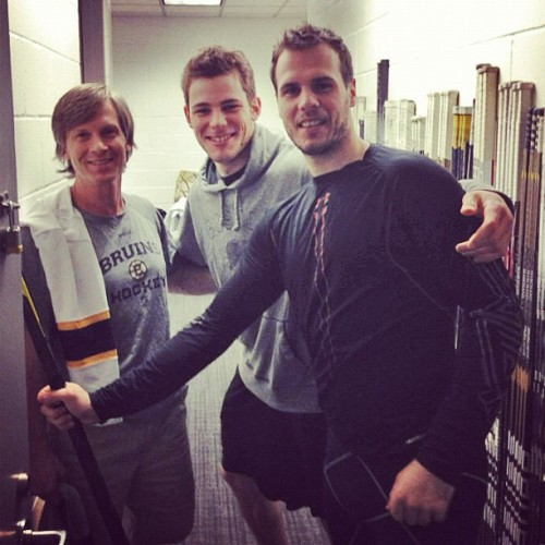 nhlbruins:  PB37: Krej and Seggs getting sticks ready with one of our trainers, Beetsy. #bruins #bruinstakeover #poweredbyATT (Taken with instagram)