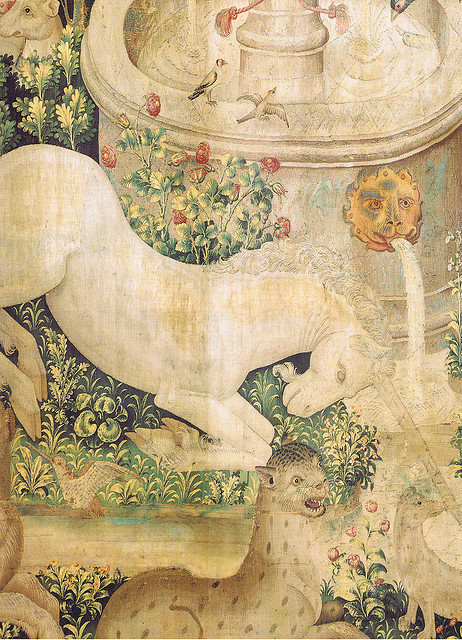 "fadamariposa:  Tapestry no. 2: The Unicorn is found (detail)  New York City, Metropolitan Museum, The CloistersThe Unicorn Tapestries on ""the hunt of the unicorn""Series of seven Flemish tapestries from around 1500 CE"