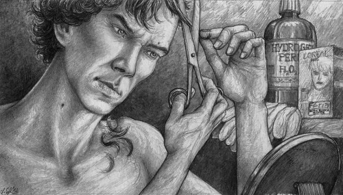 """Sherlock after the Fall: Disguising"" On with the series. This is drawing #9. Eight more to go (as yet), but I may draw some silly crack next, before carrying on with these angsty themes. Don't hesitate to suggest scenes you'd like to see."