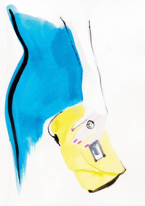 Marc by Marc Jacobs clutch.  Illustration by David Downton.