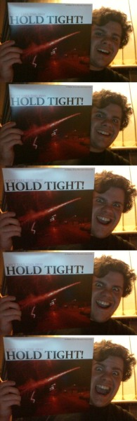 "The several stages of my stokedness at the arrival of Hold Tight's ""Can't Take This Away"" LP today!  I have finally succumbed to vinyl geekdom and procured a cheap-but-cheerful vinyl deck which actually works with my hi-fi.  Commence one-man listening party!!!"