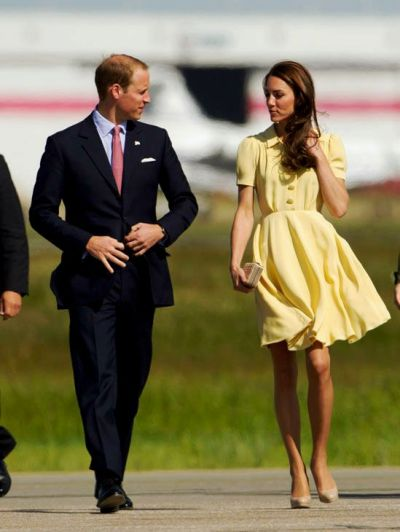 catherine-duchessofcambridge:  My Favourite Catherine Outfits Part I The simple yellow Jenny Packham dress worn on the Canada tour has to be one of the best. I love the soft buttercup colour and the girly collar, buttons and loose skirt. She looked impeccable. It's unfortunate that weights weren't sewn into the hem of the dress as is customary, because the skirt flew up, but other than that I really can't fault it! The nude LK Bennetts go perfectly with it, too.