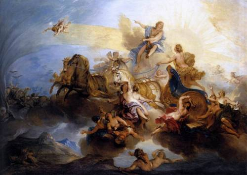 phaethon on the chariot of apollo. nicolas bertin. 1720, oil on canvas, 90 x 125 cm.