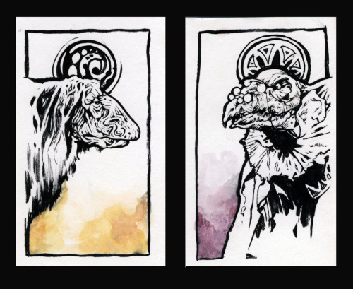 oaklanddrinkanddraw:  Dark Crystal Cards from Last Night Justin, 3/21