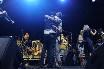 mumfordandsonslive:  Marcus Mumford and Alex Ebert onstage hugging it out at the Myspace Big Easy Express concert at SXSW in Austin, Texas, Saturday, March 17, 2012.