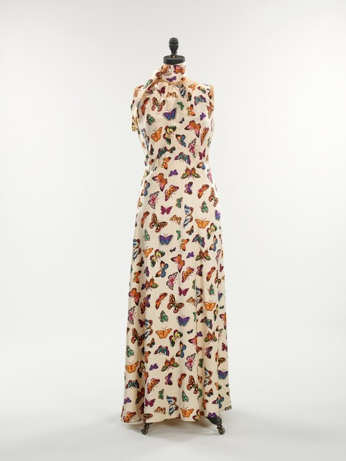 A butterfly covered Schiaparelli dress, Spring-Summer 1937.