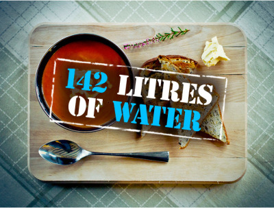 How Much Water Does it Take to Make Your Food? Today is World Water Day.  The UN has a site about water and food security issues here. Image: 142 liters of water are needed to produce the 8 tomatoes, 1.5 slices of bread and portion of butter to make this meal. Via the UN World Water Day Flickr account.