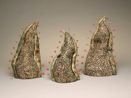 "Jenni Ward: Sprout Series IV, 2009, ceramic & high temperature, wire, 18"" x 36"" x 4"""