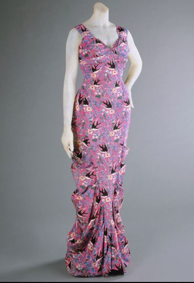 A boldly printed Schiaparelli evening dress, Summer 1939.