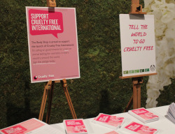 "Cruelty Free International and The Body Shop call for a ban on cosmetics testing on animals Cruelty Free International, the world's first global non-profit organisation dedicated to ending product testing on animals for cosmetic purposes, is launching its first global pledge campaign at The Body Shop on 15 May! Across the world, The Body Shop customers will have the opportunity to sign a pledge in-store to support Cruelty Free International's push for a global ban on animal testing for cosmetic products and ingredients. Explaining why Cruelty Free International has partnered with The Body Shop, Michelle Thew, Chief Executive of Cruelty Free International said,  ""The Body Shop has been internationally renowned for its Against Animal Testing stance right from the very start.  They have led the way with their efforts to drive animal testing out of the cosmetics industry, and Cruelty Free International is delighted that this commitment is again at the forefront of The Body Shop's campaigns.""  To find out more about animal testing and Cruelty Free International visit www.crueltyfreeinternational.org"