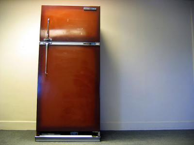 This refrigerator is brown.