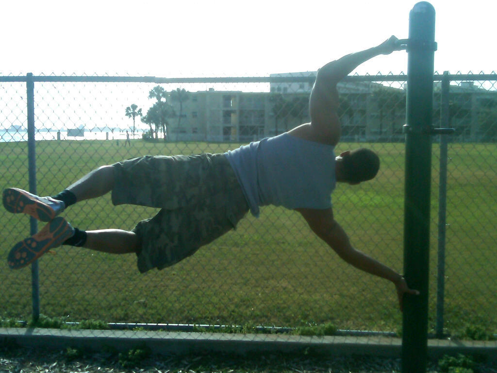Working on the human flag. Took me about a month to be able to do it. But I am far from where I want to be.