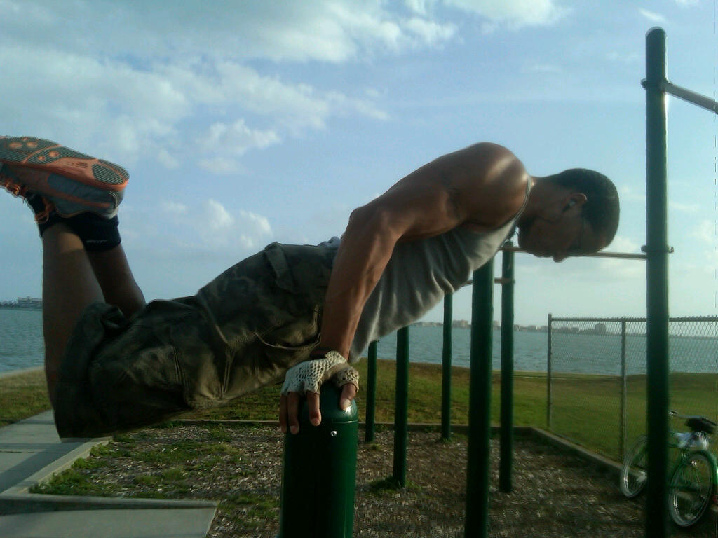 Working on my superman push ups or planche not sure which it would be.