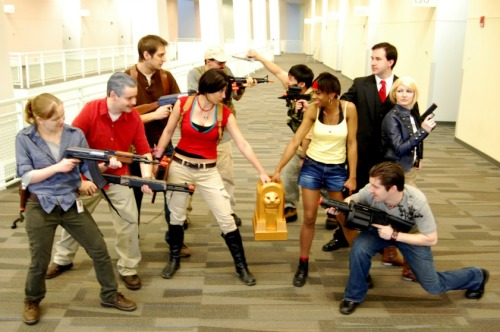 "lady-of-rohan:  OUR UNCHARTED COSPLAY GROUP YEEA. Some of these photos have never seen the internets before! Figured I'd upload some more of the group shots because…. damn, I love my friends :'D If you wanna see more silly pix of this cosplay group, click HERE. Or check out my DA PAGE. The fortune hunting crew: vschnelljr as Victor ""Goddamn"" Sullivan. My husband as Nathan Drake. LadyofRohan as Elena Fisher. Drderange as Chloe Frazer. Del as Katherine Marlowe. Okoa as Jeff the cameraman. Darryngrey as Talbot. Zestypizza as Harry Flynn. And our dear friends (who have no sites to link to) as Rika and Eddy Raja!"