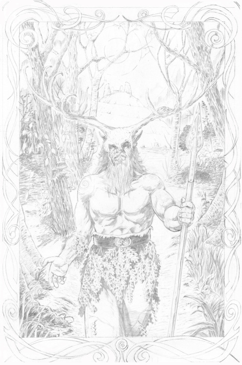 Something new!  These are the raw pencils for a Herne the Hunter thingy I'm working on.  Inking it/tidying it up is going to be a right pain :)