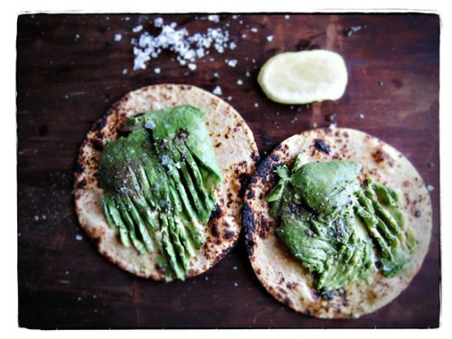 Tasty / Toasted corn tortillas toasted with mashed avocado, lime and sea salt.