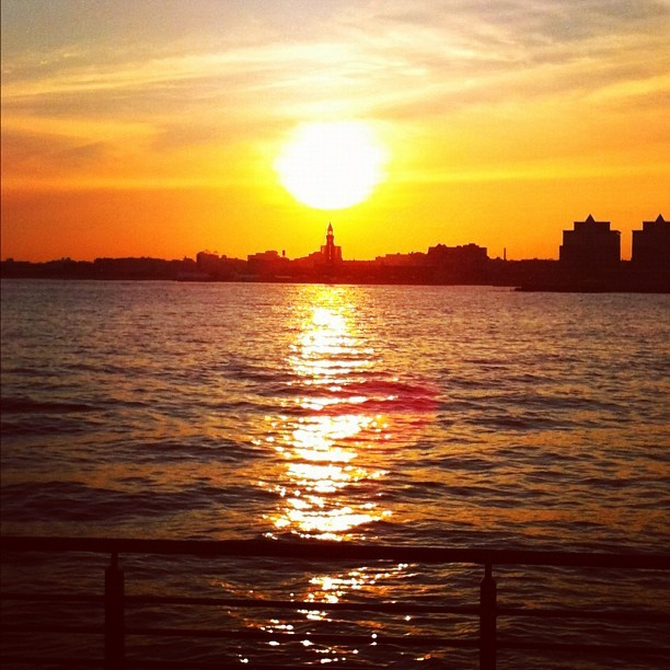 Gorgeous #sunset over the #hudsonriver in #nyc on my bike ride home!  (Taken with Instagram at Hudson River Park)