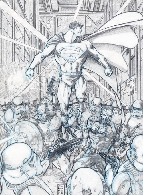 mikeballan:  Superman & Captain America vs. Stormtroopers EPIC is what comes to mind seeing this..!  Supes, Cap, and Nick Fury… EPIC.