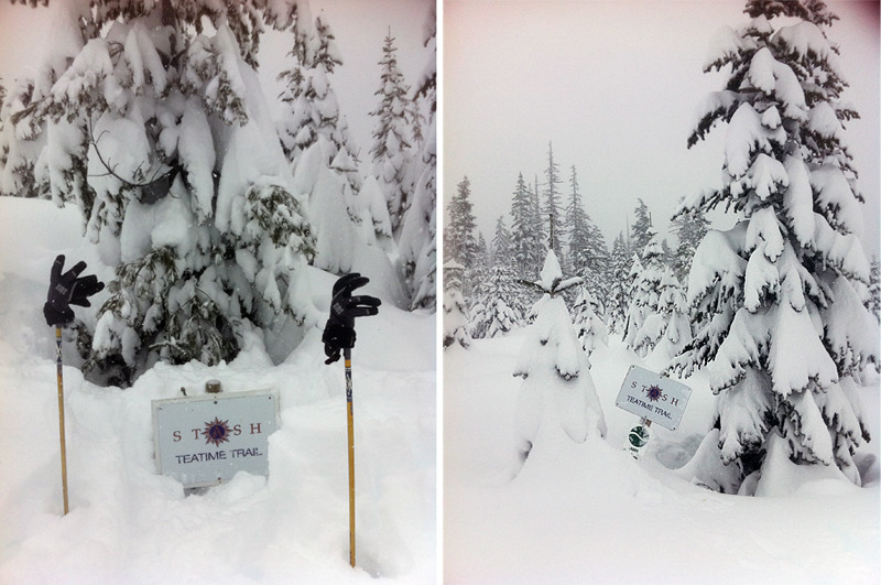 13 feet of snow up on Teacup Lake Nordic! Our Teatime Trail signs are almost completely buried, but there's never been a better time for a hot cup of tea.