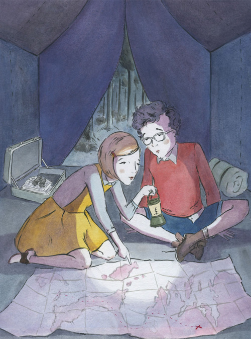 Illustration for Wes Anderson's Moonrise Kingdom, ink and watercolor, 2012.