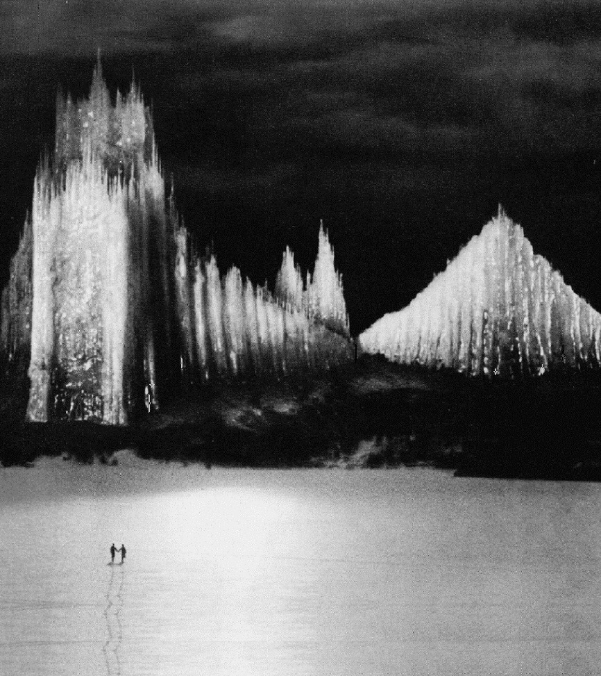 "oldhollywood:  The Holy Mountain's ""Cathedral of Ice"" (1926, dir. Arnold Fanck) (via) The 50 ft. tall cathedral was constructed from ice painstakingly shaped for months on an armature of metal pipes."