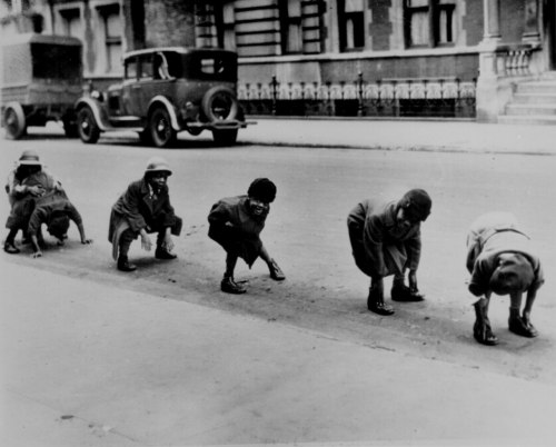 firsttimeuser:  playing leap frog in Harlem, 1930s..