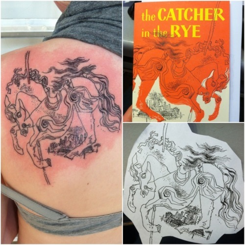 This is my first tattoo. The Catcher in the Rye has been my favorite book for years and it's always helped me through tough times. I'm also studying to be an English teacher, so a literary tattoo is only fitting.