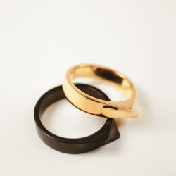 silva bradshaw black stainless and gold rings