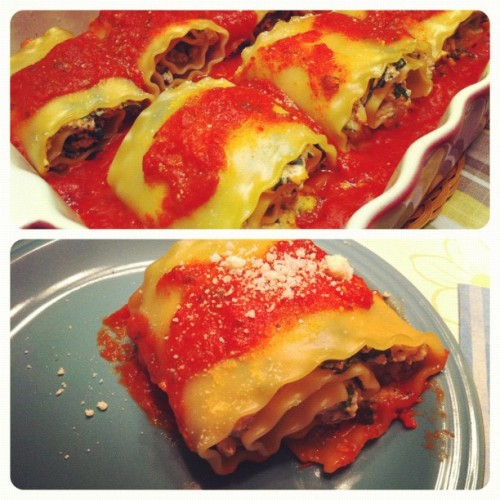 Chicken Lasagna Rollups Adapted From: Dashing Dish Ingredients: 1 cup fat free ricotta cheese 1 cup frozen chopped spinach, thawed and squeezed dry 1/2 tsp Italian seasoning 1/8-1/4 cup parmesean  7 whole wheat lasagna noodles (the nutritional info on this will be with using regular lasagna noodles because that was what was on sale at the store this week). 3/4 jar of any pasta sauce (I used Francessco Rinaldi's Three Cheese) 1/2 package of ground chicken, browned 1/2-1 cup of part-skim low fat mozzarella cheese (optional- I did not use, therefore the nutritional info would be different if used) Directions:  Pre-heat oven to 375 degrees. Spray a baking dish with non-stick cooking spray. Pour 3/4-1 cup of spaghetti sauce into the dish and set aside. In a large pot, bring water to a boil and then cook pasta based on box instructions. While pasta is cooking, mix together in a medium sized bowl the meat, 1/2 cup spaghetti sauce, ricotta cheese, spinach, spices and parmesean (I eyeballed a few shakes). When noodles are cooked, drain in a colander, and lay on a kitchen towel to dry. Now evenly disperse the mixture onto each of the lasagna noodles. Roll noodles and place into the baking dish seam down. Pour more sauce on top of the rolls and sprinkle more parmesean cheese on top (and mozzarella if desired). Bake at 375 for 30 minutes covered with foil. After 30 minutes, remove foil and cook for an additional 5-10 minutes or until the cheese is melted. Serve and enjoy! Nutritional info per serving (makes 7 rolls): Calories- 213; Fat- 4.9g; Saturated Fat- 1.4g; Cholesterol- 36mg; Sodium- 351.9mg; Carbs- 28.0g; Fiber- 2.4g; Sugar- 6.8g;
