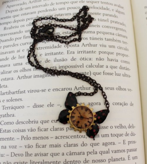 Butterfly Clockwork Necklace by ~Viuva-Negra