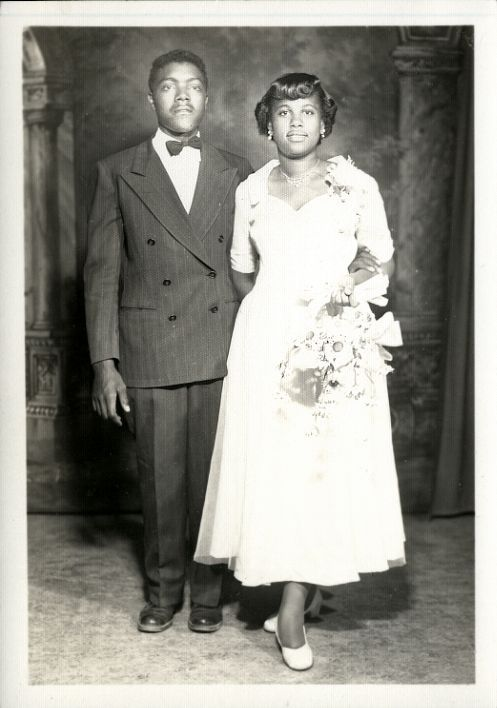 Young African American couple c. early 1950s - possibly bride and groom or attendants