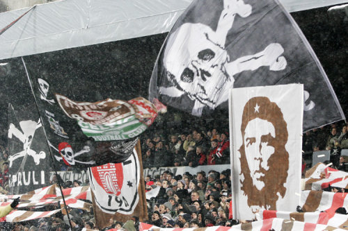 servile-masses-arise:  colombianred:  St. Pauli Ultras  Love the combined Celtic/St Pauli flag …  I'm going back to Millerntor in February 2014. You should try to come.