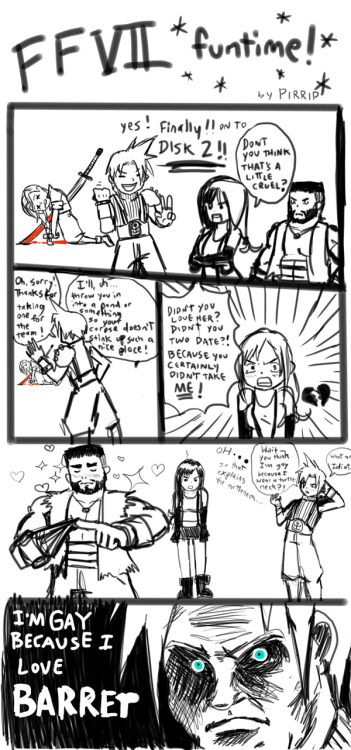 I've been replaying through Final Fantasy VII on and off for a couple of weeks, and I've just made it to the second disk. ALSO it's a little disappointing that the gay option in this game really isn't so great. It's more of a gag, and not very serious. Oh well. At least Bioware is taking the initiative.ALSO, the last bit of this was based on a ragecomic I saw once.ALSO, I'm not used to this tiny tablet. And I made this in like, 30 minutes maybe. CLICK IT TO SEE IT IN ITS FULL READABLE GLORY.