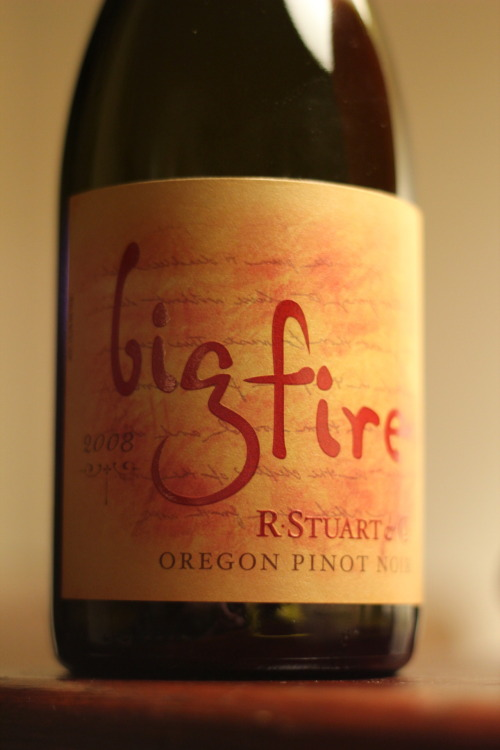Big Fire Pinot Noir, McMinnville, Oregon by R. Stuart & Co. From the much-vaunted 2008 vintage in Oregon. Spicy, fresh, delicious. Again, get yours before they are gone, which they might already be.