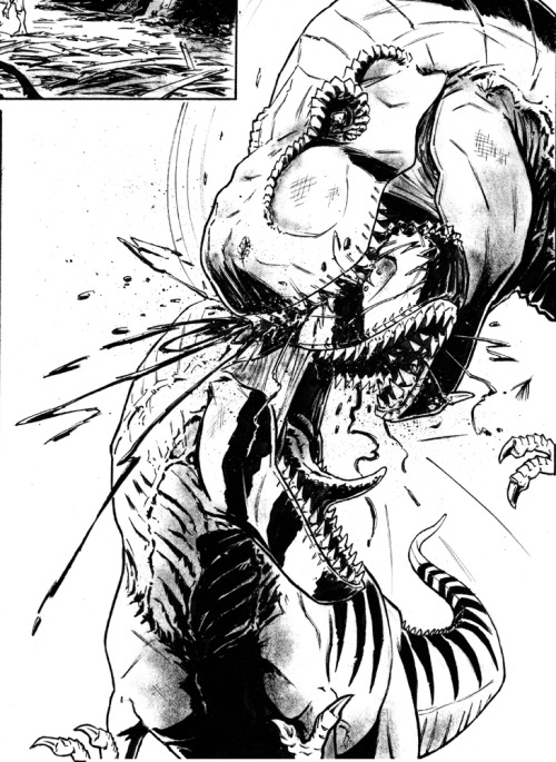 Chomp… a panel from my dinosaur graphic novel that I've been slowly scratching away at.