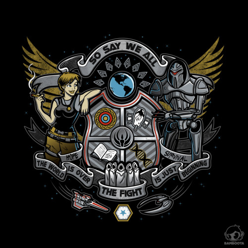 """Galactica Battle Crest"" by Bamboota Tshirt available HERE."