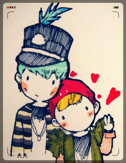 [FANART] ♥ GTOP - YG ON AIR  freaking cute! (cr:weibo@愛体积愛偷懶爱说噗_表明很欢乐)