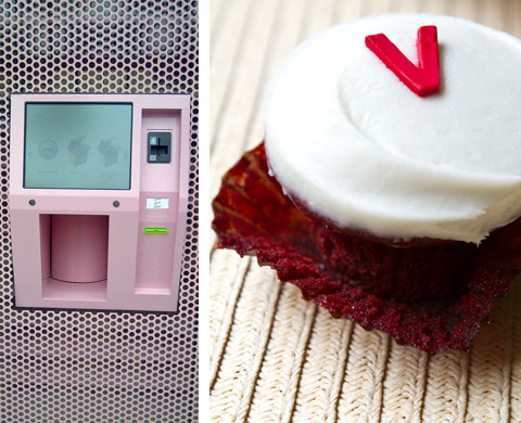 "Vegan cupcake ATM, what the what? Kathy (Lunchbox Bunch, Finding Vegan, your entire internet) at Babble did the research and, yes, the red velvet cupcake at the Sprinkles 24-hour cupcake ATM in Beverly Hills is 100 percent vegan and 100 percent delicious. Leading us to ask for the billionth time, Why does L.A. get all the good stuff? Come ON, Bay Area, spoil us! You know we'll actually digest those cupcakes, no ""eating with all the senses except taste"" or ""chewing and spitting"" nonsense, we're not actors, no one needs to think we're pretty. GIVE US CUPCAKES AT 2 IN THE MORNING. [image by Kathy Freston for Babble]"