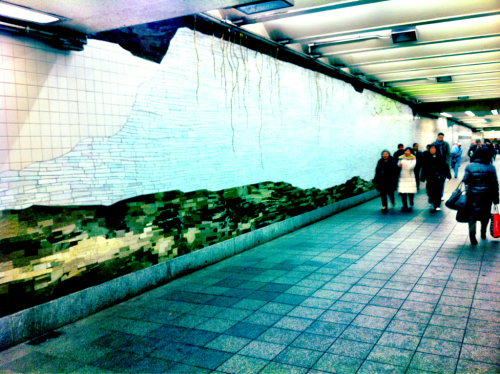 Subway Series 9 - Tile - NY, NY iPhone 4, Camera+ There are so few places in our crazy world that we take the time to make beautiful. I love to see installations of art in a utilitarian location. What amazes me is how rarely we stop to look, absorb and enjoy the art that is around us. Next time you see something, stop, look, feel, listen. Let it in and be in the moment. It might be the most peaceful part of your busy day.