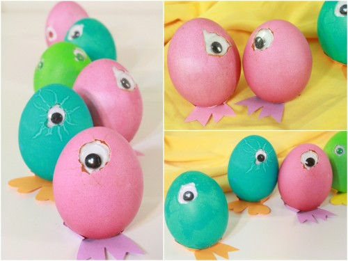 rainbowsandunicornscrafts:   DIY Googly Eye Easter Eggs. The strangest Easter Eggs I've ever seen. But I like them. Tutorial from I Could Make That here.