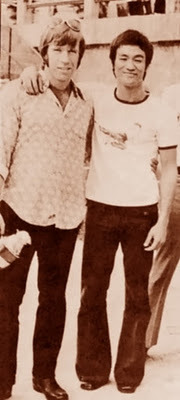 A young Chuck Norris and Bruce Lee