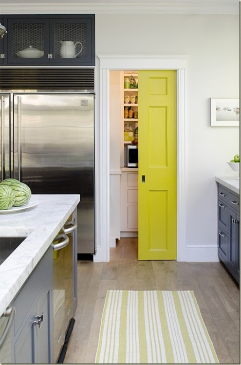 myidealhome:  yellow door (via ♥ HOME / colorful door) Loving that colour - has a hint of lime green.