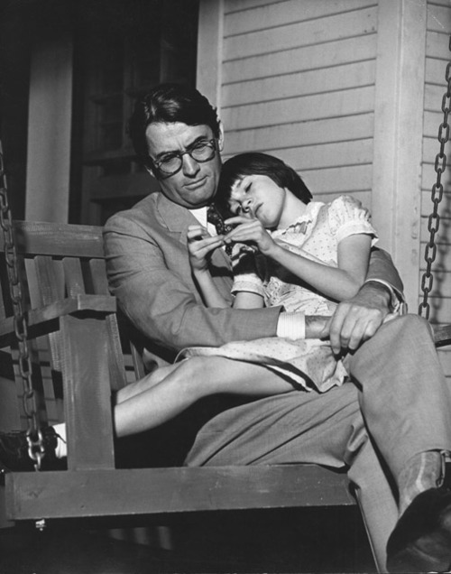 hannabiscannabis:  Mary Badham and Gregory Peck on the set of To Kill a Mockingbird (1962). The two kept in touch after filming, and she continued to call him Atticus until the day he died.