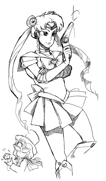 4khdailydrawing:  Sailor… Moon?  I know that sometimes (well, often) updates to the actual 4KH comic are few and far between. So here's a new feature that will hopefully make that gap seem smaller! It's the 4KH Daily Drawing, and it's exactly what it sounds like! It's a new sketch every day featuring the characters from Four King Hell!, expanding on scenes from the comic so far, or showing what other characters have been doing whilst out of the limelight. Hope you all enjoy! I've got about, oh, five more queued to go at the moment and I'll try to add more over the weekend.