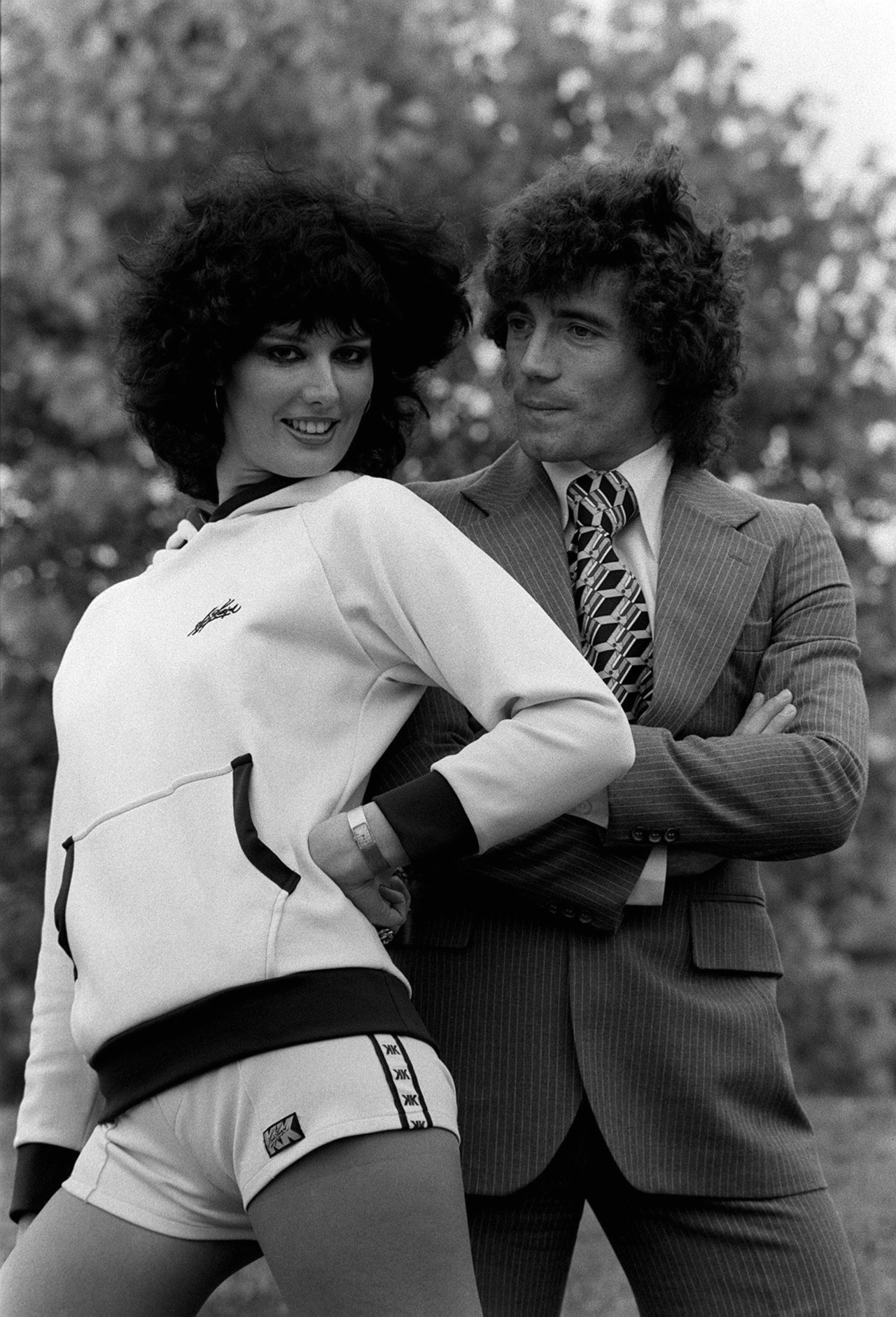 Kevin Keegan in 1978, with a young lady modeling Keegan's own line of hotpants.