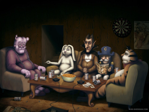 Cereal Mascot Reunion by Rob Sheridan  Franken Berry, Trix Rabbit, Count Chocula, Cap'n Crunch And Tony The Tiger