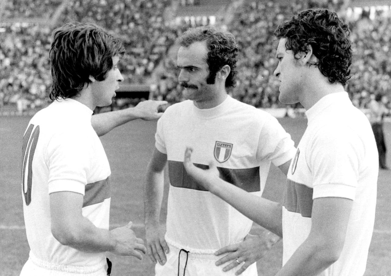 Gianni Rivera, Sandro Mazzola and Fabio Capello, World Cup 1974.