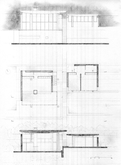 Bruno Morassutti - House in Termini, Sorrento (1963-1964) Floor plan, section and elevation - pencil on paper, 2008