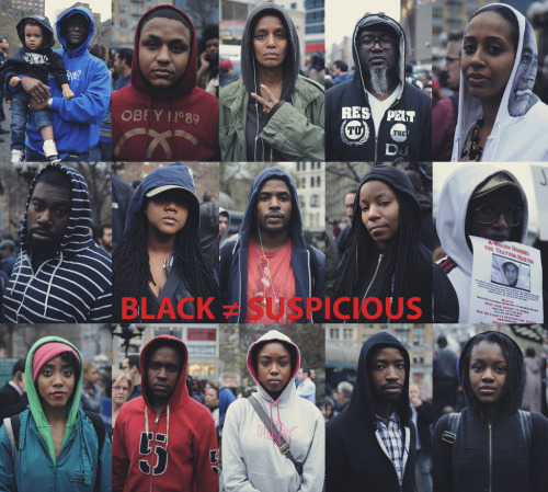 ::BLACK ≠ SUSPICIOUS:: Photo by J. Quazi King Million Hoodie March for Trayvon Martin. Union Square NYC. 03.21.2012 http://quazimottoonwax.tumblr.com/ REBLOG, SHARE!!! #millionhoodies #justicefortrayvon #UnionSqNYC  -Please do not REMOVE credits when rebloggin, THANKS!