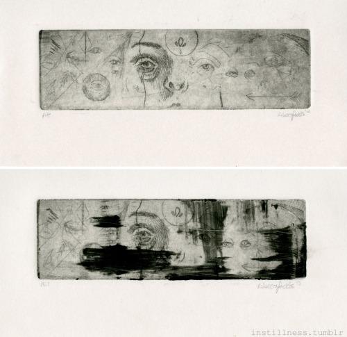I am still experimenting with intaglio and what kind of images I want to create with the medium. I did this little doodle of a print in 3 hours, which included coating the zinc plate, scratching the image, etching it (with hard ground and then an open bite for plate tone) and then printing it. It's super tiny but I kind of liked that, and it was fun to not worry about a perfectly rendered image and to just go with whatever happened. I also tried different wiping techniques, for some reason a big scrape of ink left on the plate to be printed is super appealing to me…I think I'll try this out more.